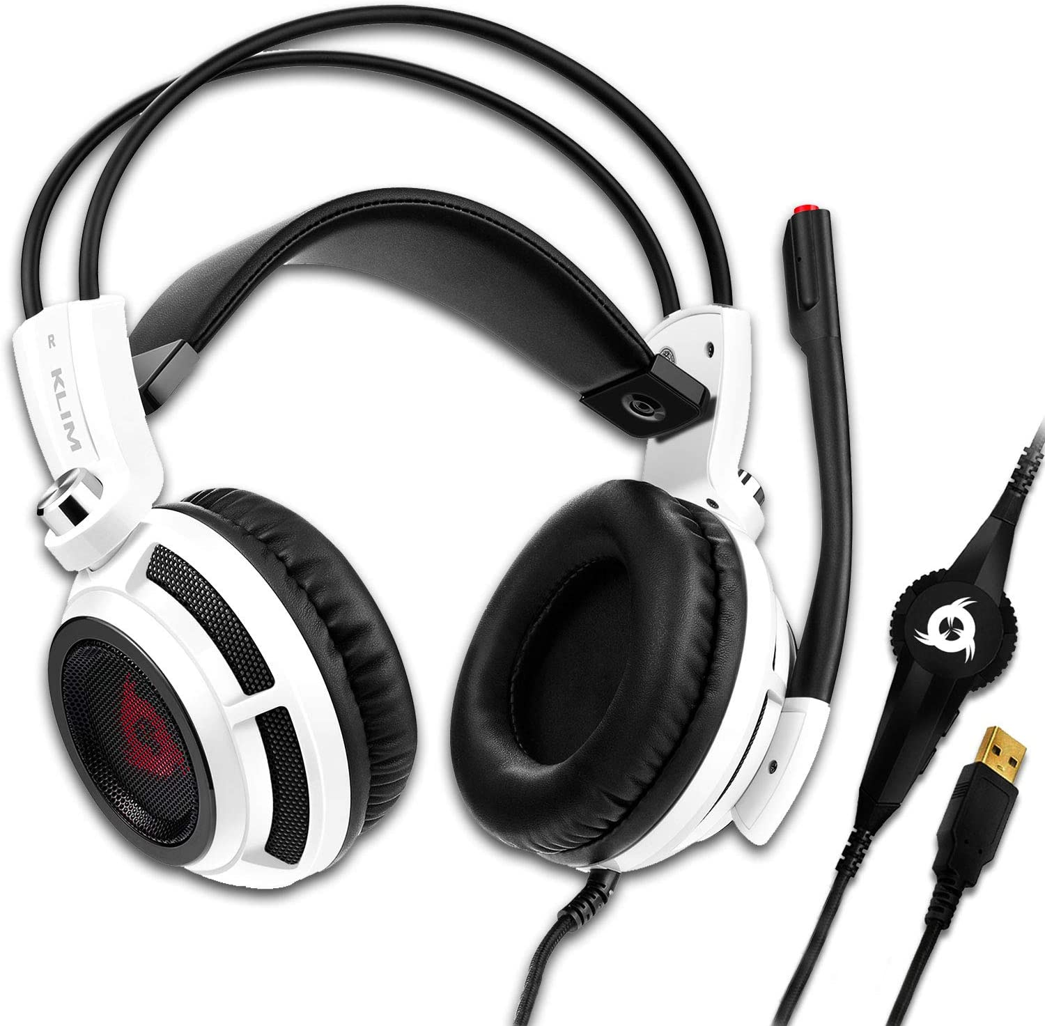 KLIM Puma - USB Gamer Headset with Mic - 7.1 Surround Sound Audio - Integrated Vibrations - Perfect for PC and PS4 Gaming - New 2021 Version - White