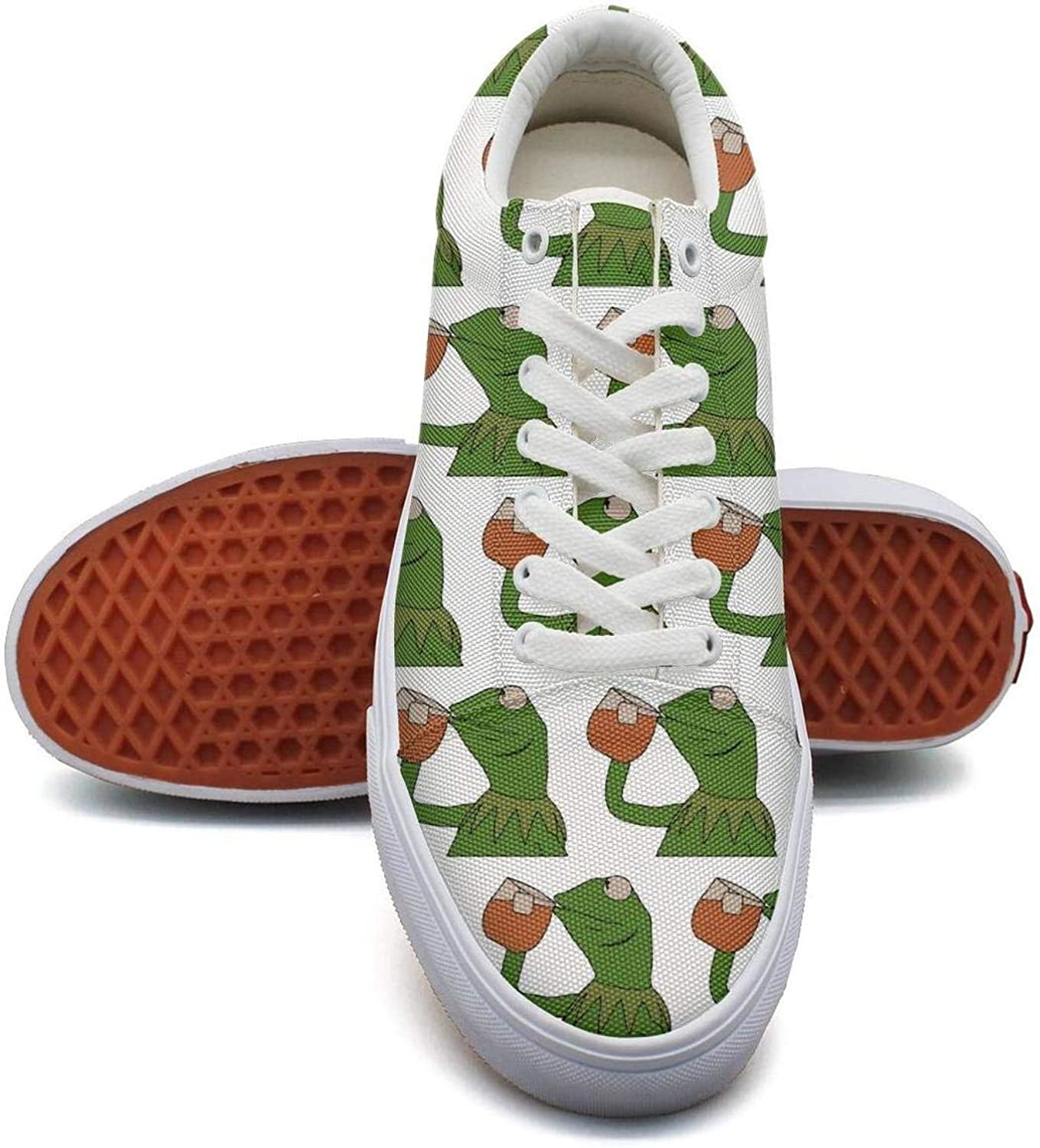OGFJAL Women Funny Green Frog Sipping Tea Beautiful Suede Running Sneakers shoes