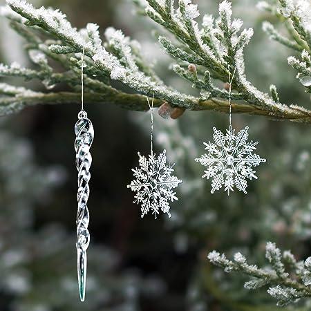 Anyingkai 36pcs Neige de Noel,D/écorations /à Suspendre avec Flocon de Neige,Flocon de Neige Decoration,Neige Deco,Neige Decoration,Flocon de Neige Argent-B