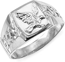Men's Polished 925 Sterling Silver Open Nugget Band American Eagle Ring