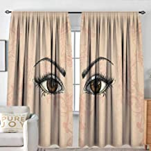 NUOMANAN Waterproof Window Curtain Eyelash,Sketch Style Pair of Woman Eyes Female Look with Victorian Floral Ornaments, Peach Black Amber,Blackout Draperies for Bedroom 100