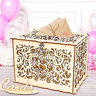 Wedding Card Box, Angela&Alex Wooden Gift Card Holder DIY Hollow Wedding Money Boxes with Lock and Card Sign Cards Hold up 300 Cards for Wedding Reception Anniversary Baby Shower Birthday Party Decora