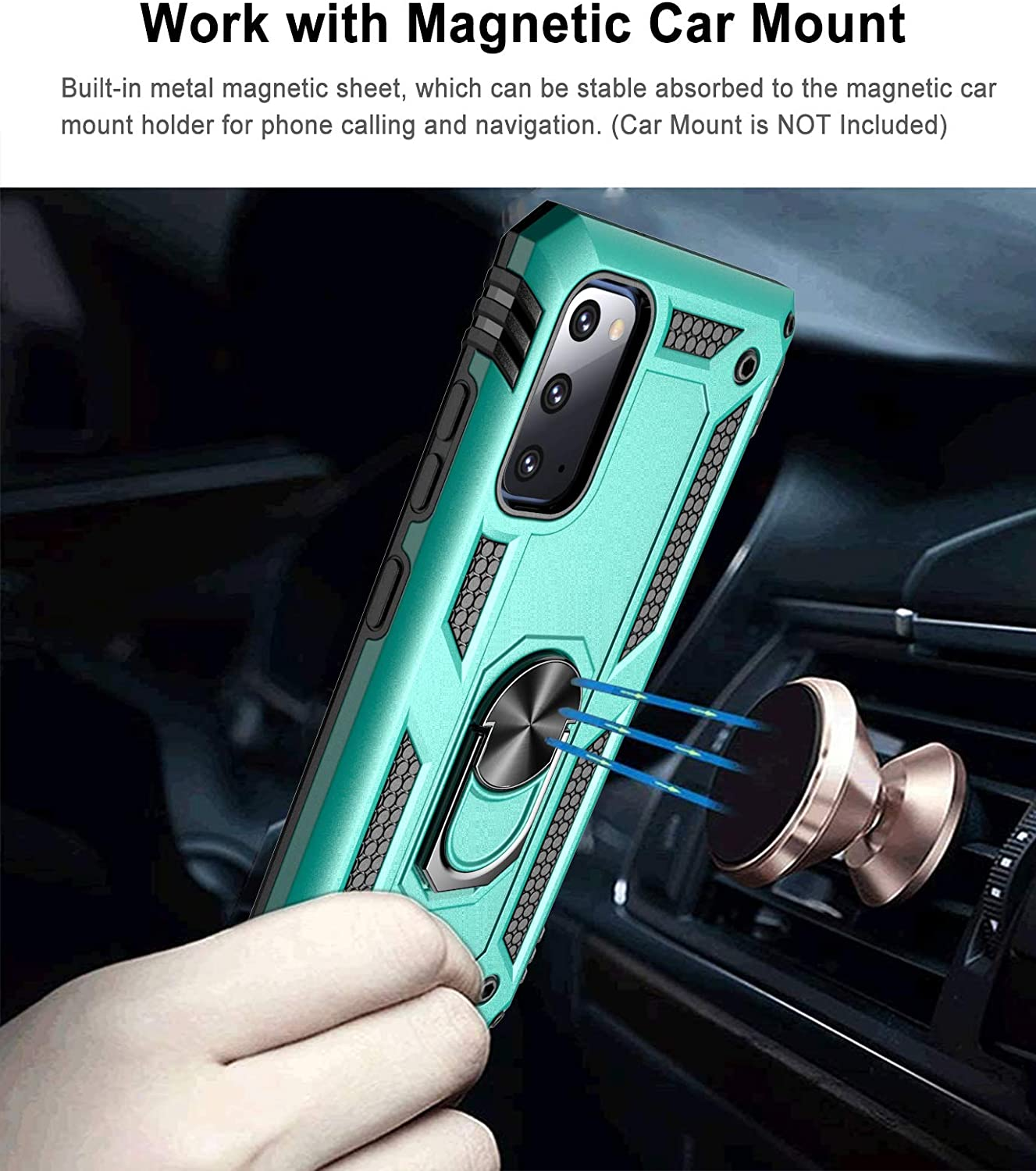 Aliruke Case for Galaxy S20 FE Case with 2 Glass Screen Protector and Align Frame,Military Grade Drop Tested Cover Grip Ring Kickstand Phone Cases for Samsung Galaxy S20 FE 5G/S20 Fan Edition, Mint