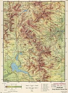 Vintage 1959 Map of Relief map, Rocky Mountain National Park : Colorado centennial, 1859-1959 Colorado, Rocky Mountain National Park, United States