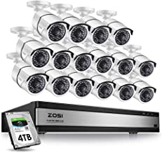 ZOSI 1080p 16 Channel Video Surveillance System,16 Channel DVR 4TB (Hard Drive) 1080p Hybrid Recorder and 16 Outdoor/Indoor CCTV Bullet Camera 1080p with 100ft Long Night Vision and 105°Wide Angle