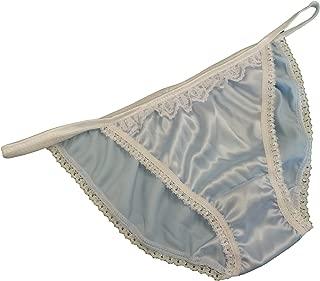 2 Shiny SATIN TANGA string bikini brief RED /& ROYAL BLUE Ivory Lace SIZE XS-XXL