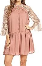 Anna-Kaci Womens A-line Flowy 3/4 Bell Sleeve Semi Sheer Lace Crochet Oversized Swing Mini Dress
