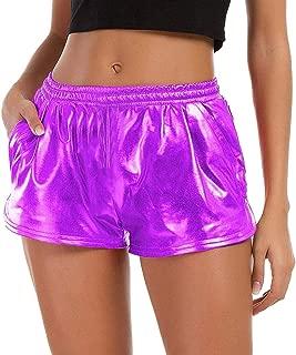 JJLIKER Women Bright Leather Stretch Waist Shorts Summer Sports Yoga Pants Super Fitness Casual Comfort Trouser