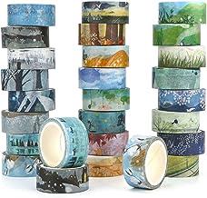 Kovano Washi Tape Set van 24 decoratieve masking tape collectie, verschillende seizoenen sjablonen - plakband voor scrapbo...