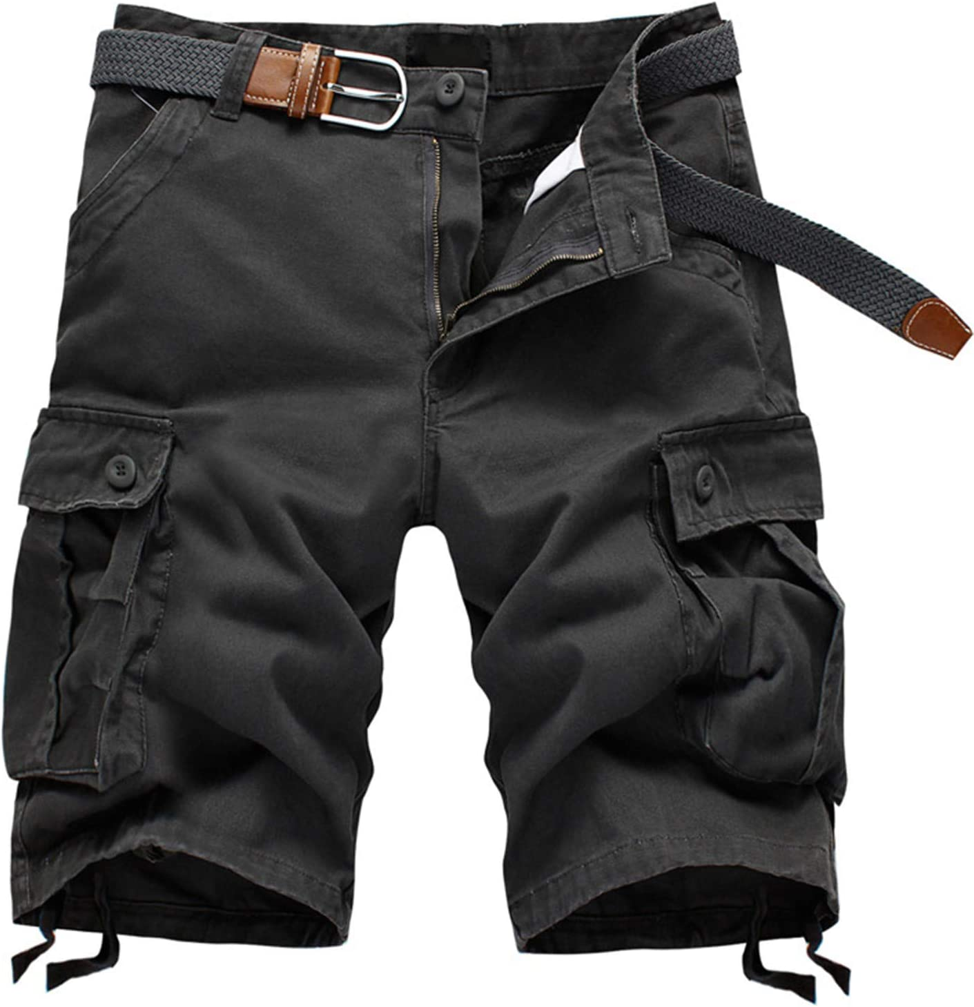 Yiqinyuan Men's Casual Shorts Baggy Multi Pocket Army Military Zipper Cargo Shorts Plus Size Breeches Male Tactical Shorts