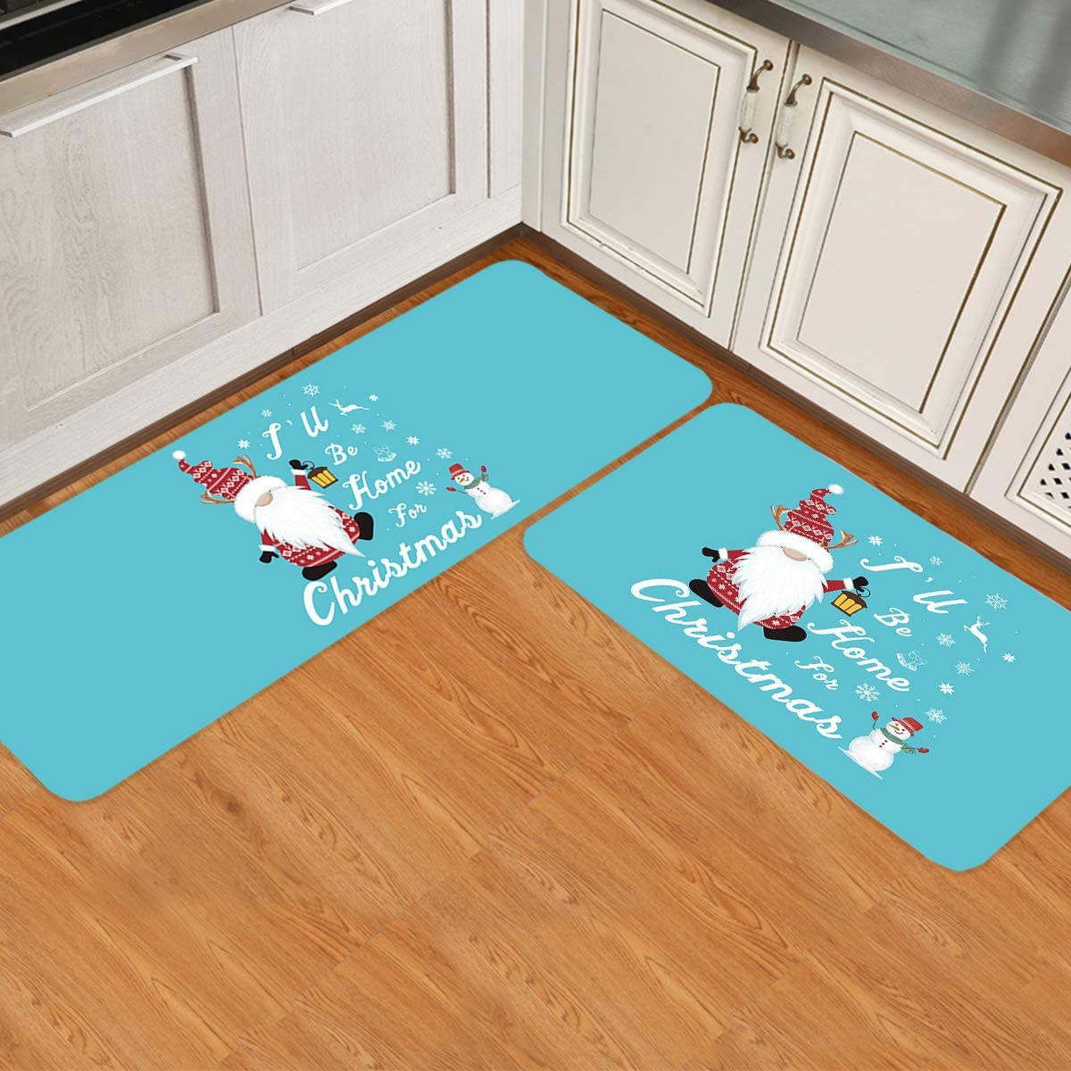 Directly managed store Kitchen Mat I'll Be Home for Snowman and Manufacturer regenerated product Christmas Gnome Blue on