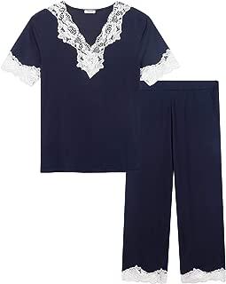 Amorbella Womens Pajama Sets Capri Pants Short Sleeve Bamboo V Neck Lace Trim