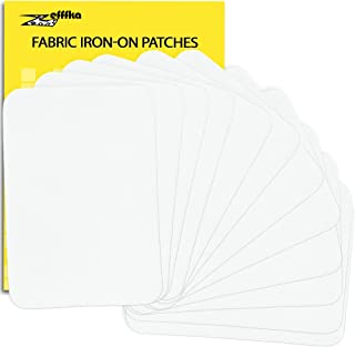 ZEFFFKA Premium Quality Fabric Iron On Patches White 12 Pieces 100% Cotton Repair Kit 3