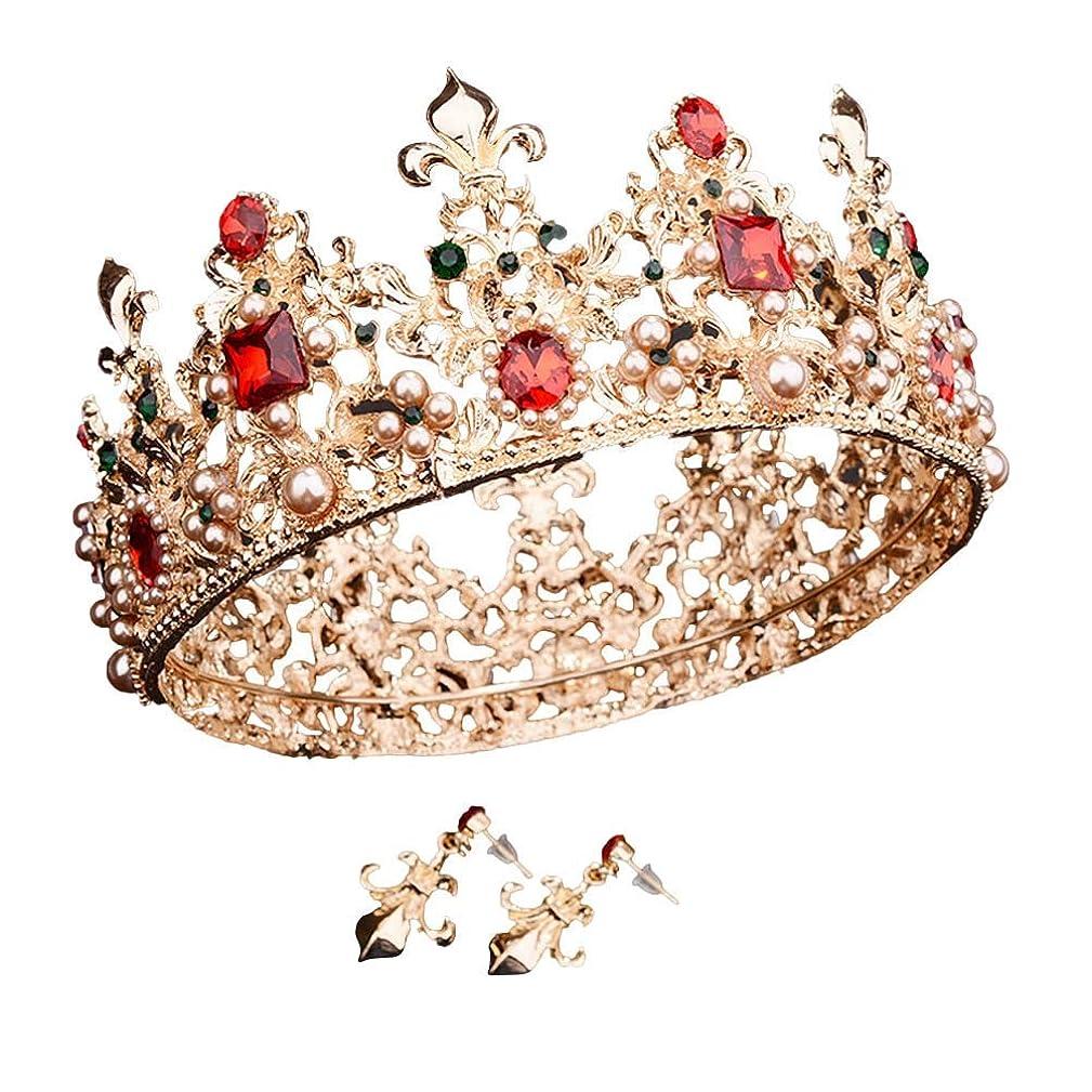 想起振動する特徴Beaupretty 女性のためのバロック女王クラウンラインストーンの結婚式の冠とティアライヤリング付きヘアアクセサリー結婚式のかぶと