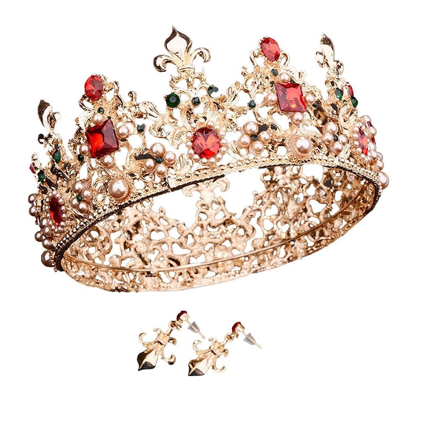 膨らみ費用摂動Beaupretty 女性のためのバロック女王クラウンラインストーンの結婚式の冠とティアライヤリング付きヘアアクセサリー結婚式のかぶと