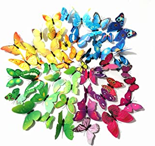 48 PCS PVC 3D Butterfly Fridge Refrigerator Magnets Wall Stickers for Wall Decor Art Decor Crafts Home Party Decoration (Multi)