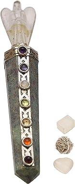 Blessfull Healing 7 Chakra Ruby Zoisite Reiki Healing Gemstone Feng Shui Crystal Angel Wand with | Rose Desert Selenite | Cub