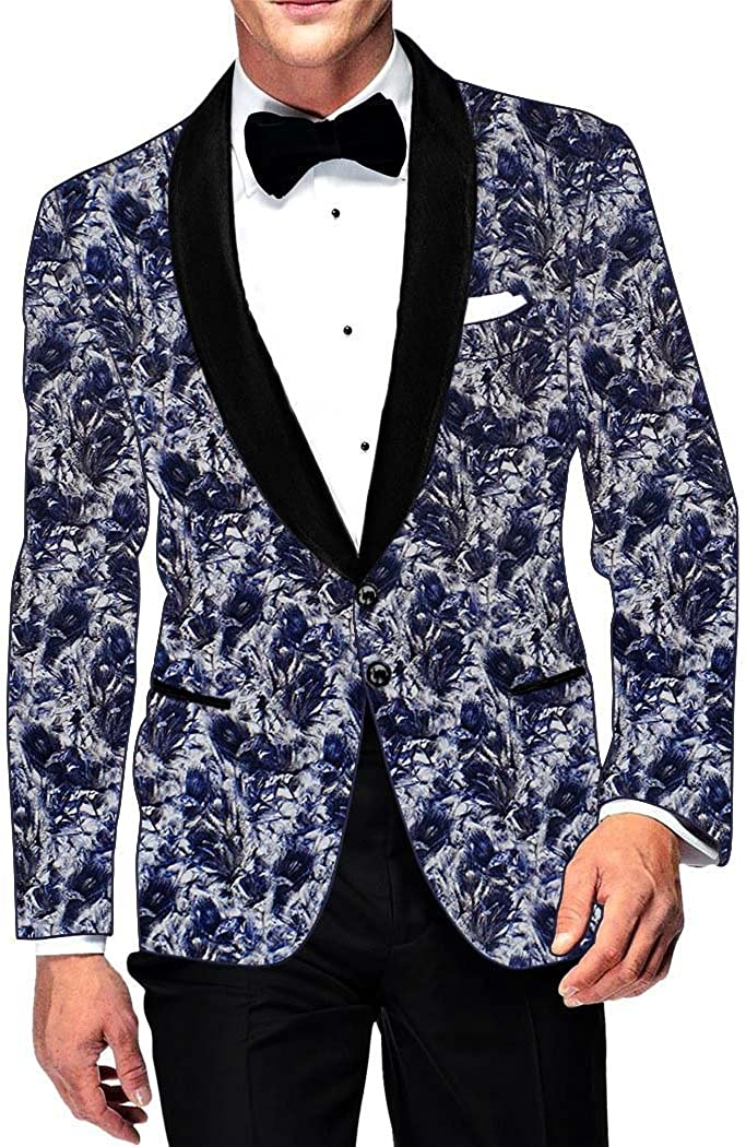 INMONARCH Mens Slim fit Casual Lavender Cotton Blazer Sport Jacket Coat Blue Design Printed SB15970