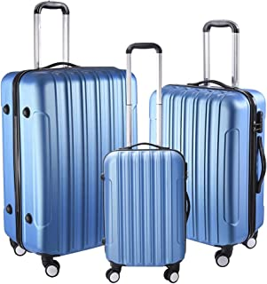 """Yescom 3 Piece Luggage Set 20"""" 24"""" 28"""" Rolling Travel Case 4 Wheels Spinner Suitcase Lightweight Lockable ABS Blue"""