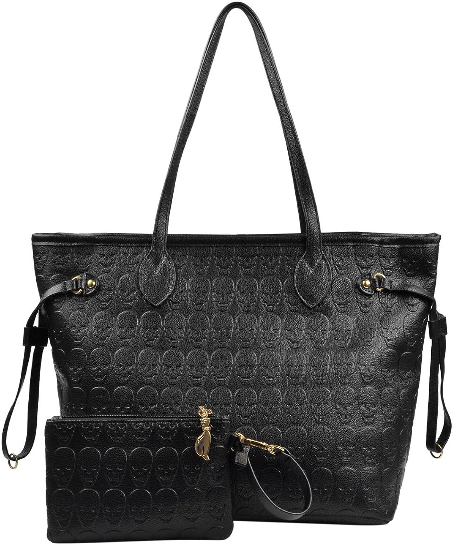 Women Devil Skull Purse Handbags Pu Leather TopHandle Satchel Shopping Bag with Clutch Purse