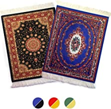 """Rug Mouse Pads, Oriental Rug Mouse Pad, Woven Mousepad, Persian Rug Mouse Pad, Oriental Carpet Mouse Pad, 9"""" X 7"""", Different Patterns (Blue and Black)"""