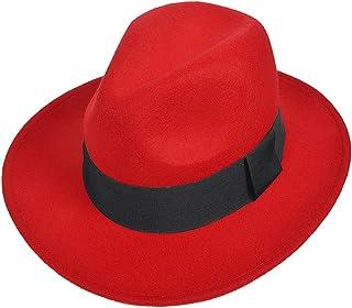 7de11c11933 FORBUSITE Wool Felt Wide Brim Fedora Hats for Women Men