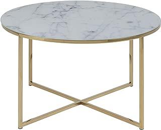 AC Design Furniture Mesa de centro Alisma, blanco, 80 x 80 x 45 cm
