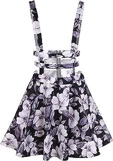 Hathawlyth Women High Waist Hollow Out Pleated Floral Print Suspender Braces Skirt