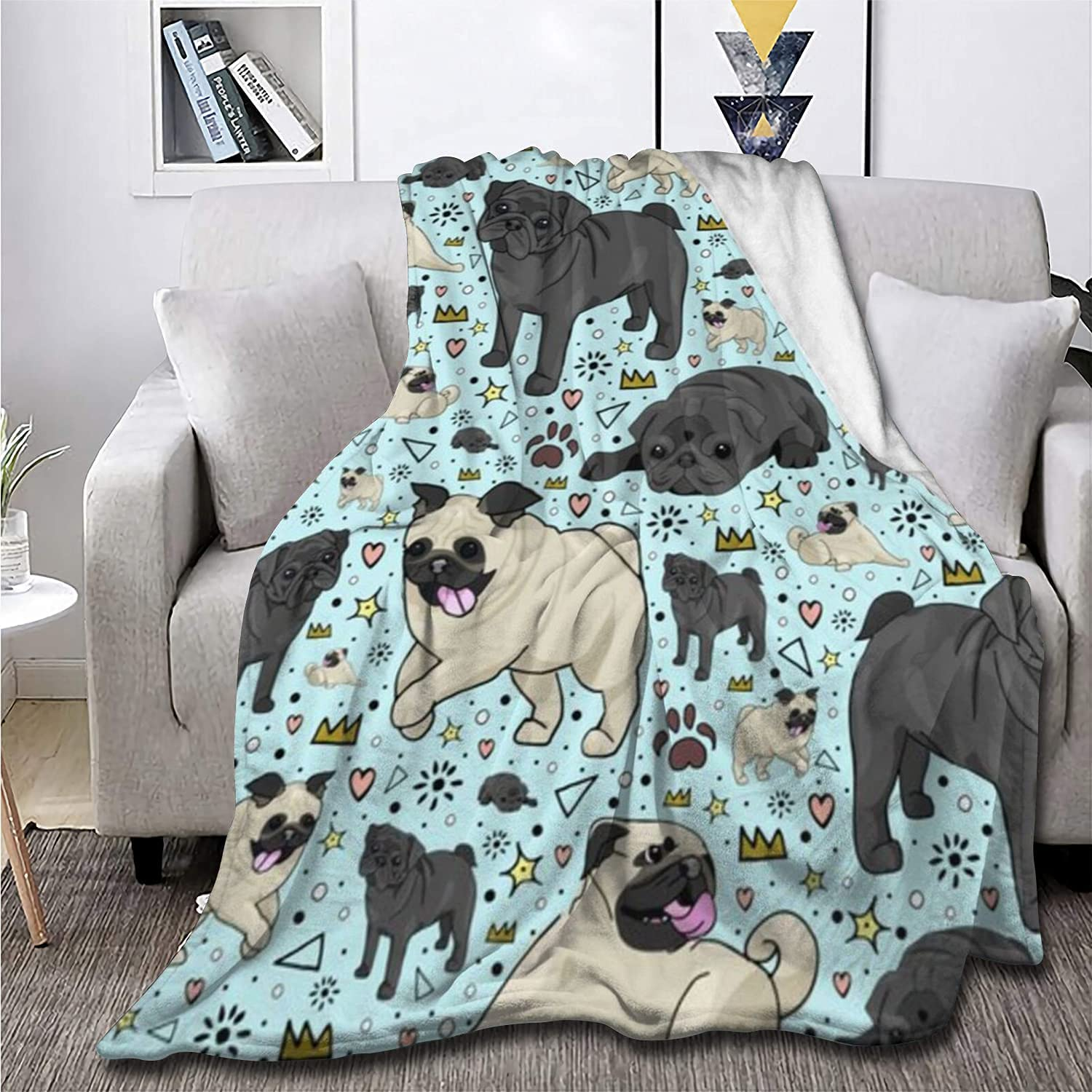 Cute Pug Blanket Puppy Inventory cleanup Free Shipping Cheap Bargain Gift selling sale Dog Gift Boys Fuzzy Kids Soft for