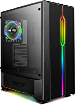 darkFlash T20 ATX Mid-Tower Desktop Computer Gaming Case USB 3.0 Ports Tempered Glass Windows with 1pcs 120mm LED Rainbow Fan Pre-Installed (Black)