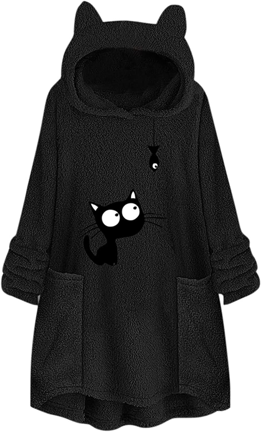 Women's Hoodie Pullover Long Sleeve Oversize Button Hooded Sweatshirts Solid Color Warm Sweater Tops Coats