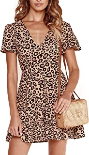 Yoyoma Womens Deep V Neck Short Sleeve Leopard Printed Swing Party Mini  Dress 254f00b97