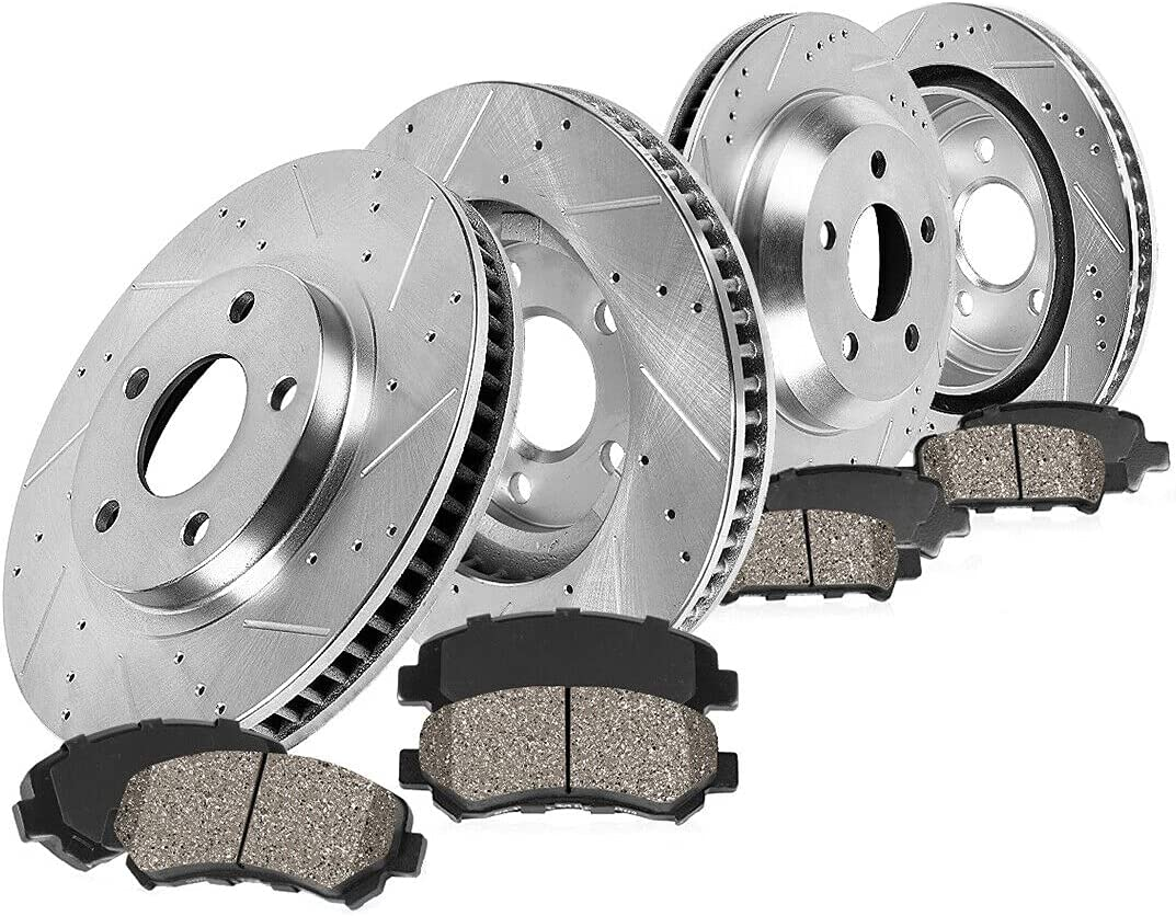 Long-awaited Front+Rear Popular product Drill Brake Rotors For Ceramic Pads S197