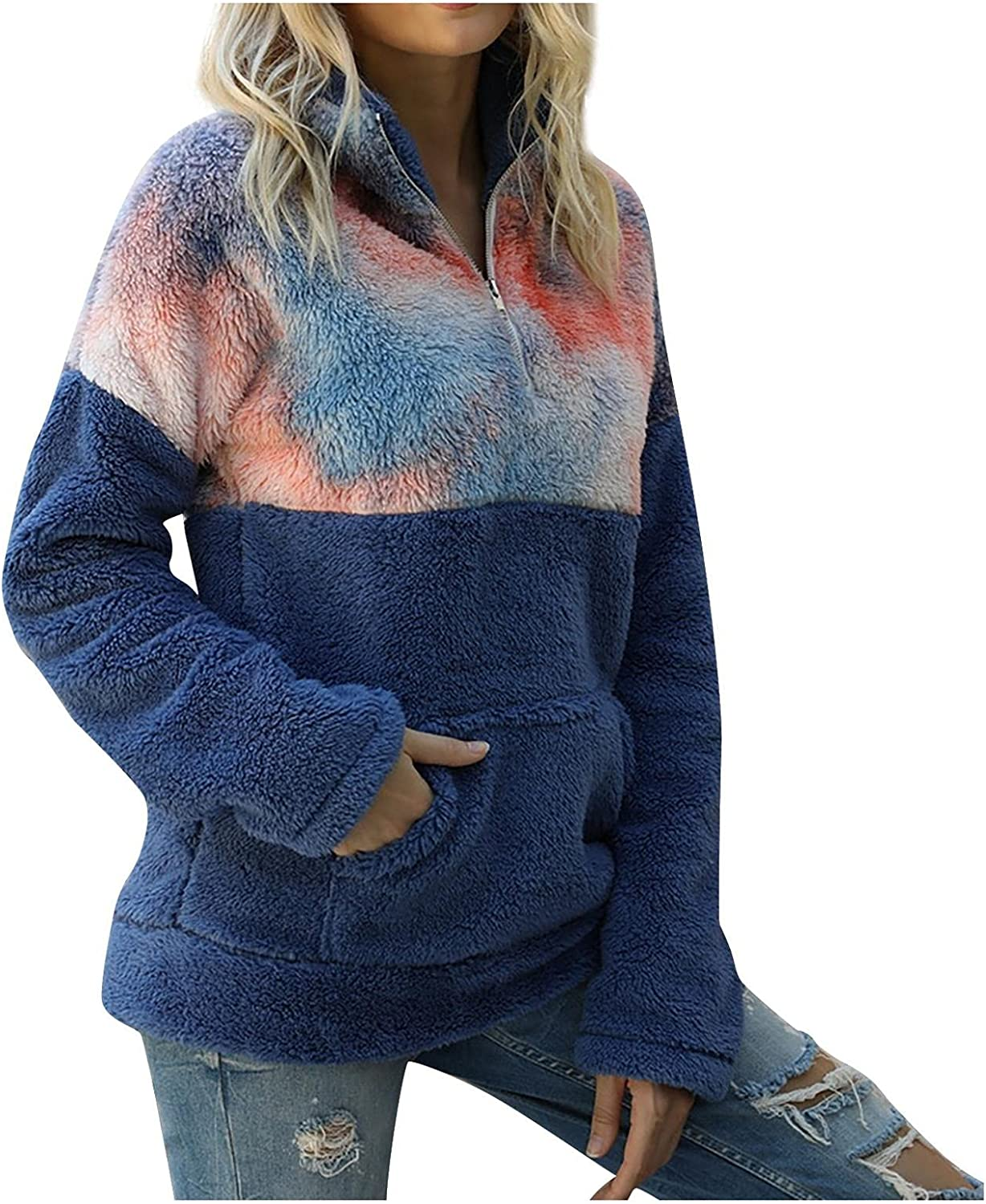 Womens Fuzzy Sweatshirt Hooded Plus Size Blouse Tops Long Sleeve Pullover Coat Tie-Dye Stitching Outerwear for Teen Girls