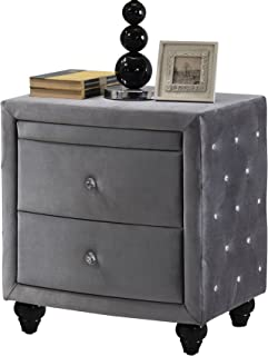 Meridian Furniture Hudson Collection Grey Velvet Upholstered 2 Drawer + 1 Pull Out Shelf Nightstand with Crystal Handles, Crystal Button Tufting, and Custom Solid Wood Legs, Grey