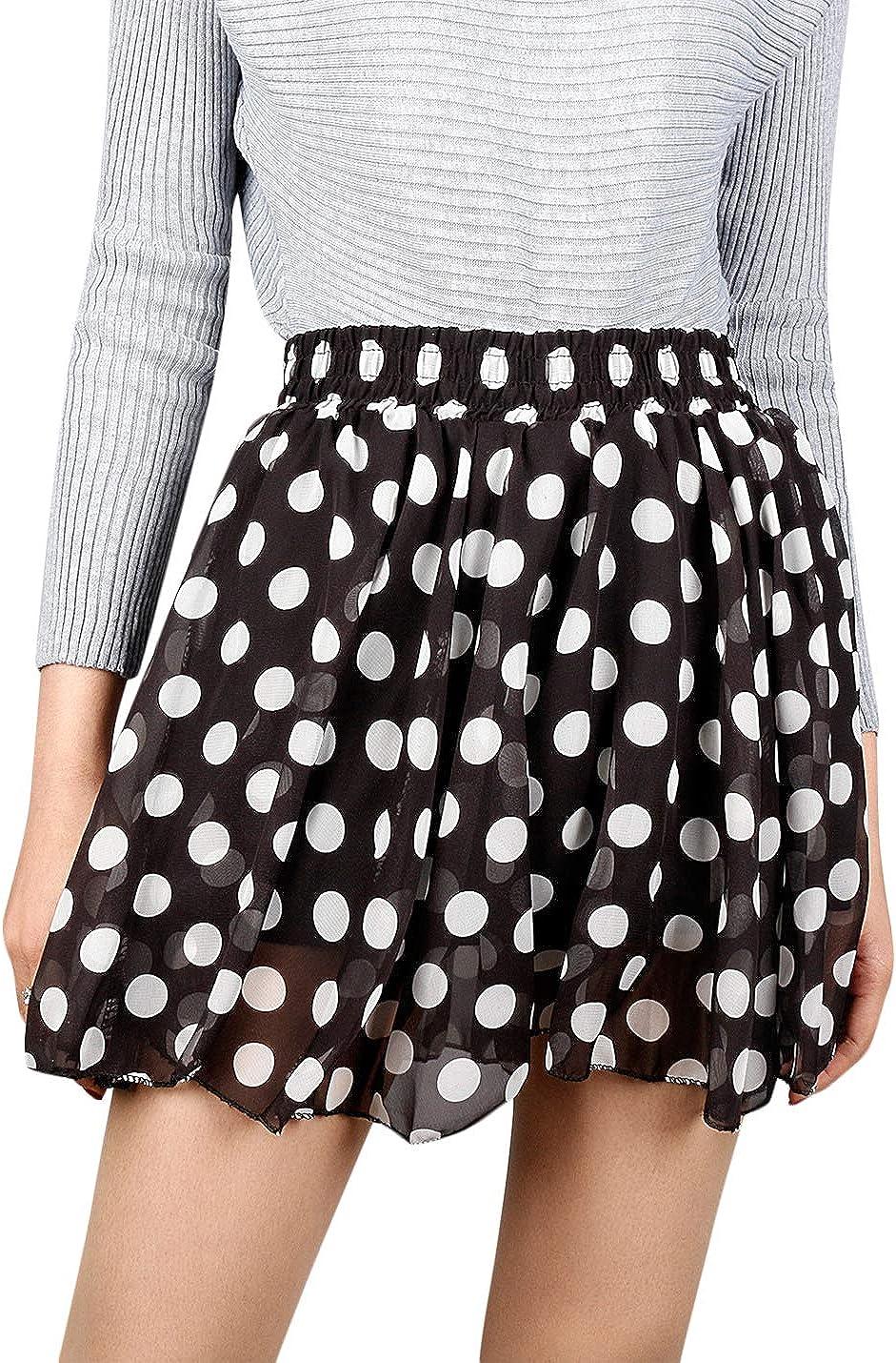 Uaneo Women's Spring Casual Elastic Waist Floral Dot Print Ruffled Mini Skirts (Black, Large)