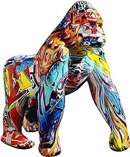 Uziqueif Gorille Statue,King Kong Statue,Animaux en resine Statues décoratives,Graffiti