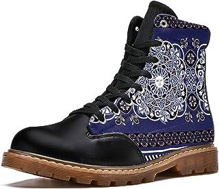 LORVIES Rétro Mandala Boho Bottes d'hiver Chaussures Montantes en Toile à Lacets pour Hommes