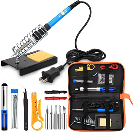 ANBES Soldering Iron Kit Electronics, 60W Adjustable Temperature Welding Tool, 5pcs Soldering Tips,