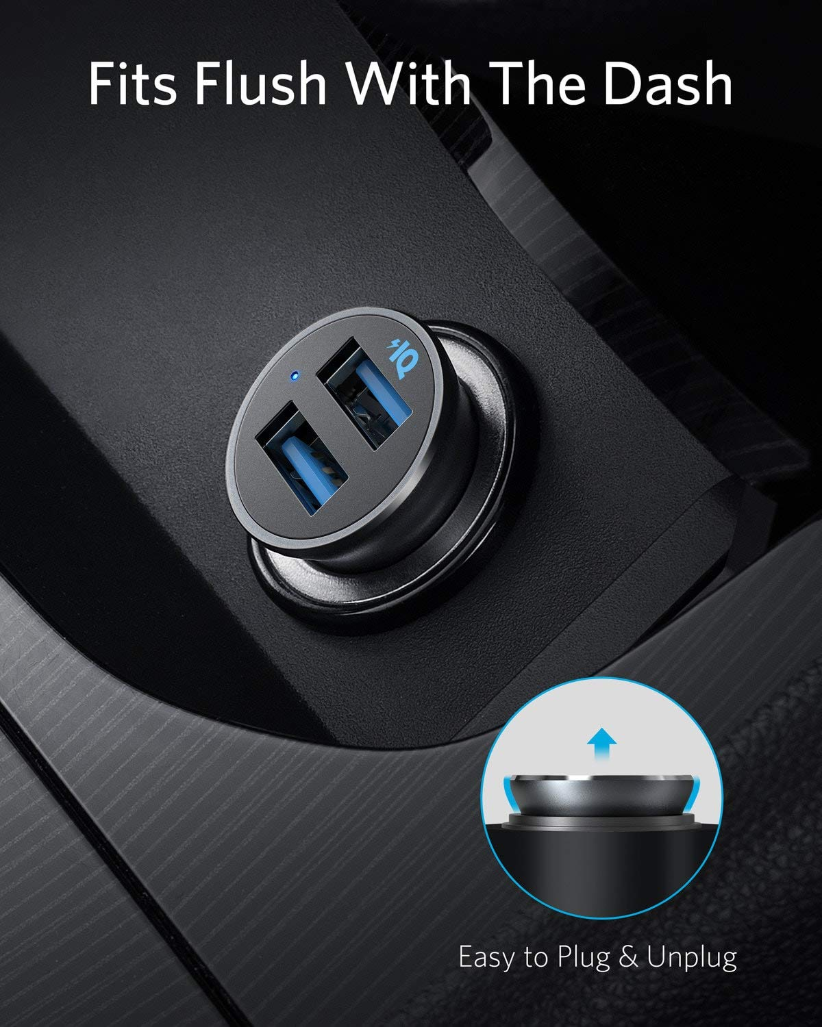 Anker Car Charger, Mini 24W Dual USB Car Charger, PowerDrive 2 Alloy Car Adapter with Blue LED for iPhone12/12 Pro/11/11 Pro/XR/Xs/Max/X, iPad Pro/Air 2/mini, Galaxy (Not Compatible with Quick Charge)