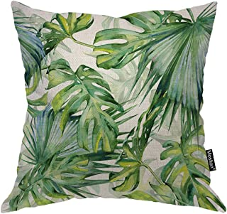 Moslion Palm Leaf Pillows Tropical Jungle Forest Botanical Plant Palm Tree Banana Leaves Throw Pillow Cover Decorative Pillow Case Square Cushion Accent Cotton Linen Home 18x18 Inch Green