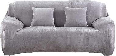 tifee Housse de canapé épaisse et élastique en Velours uni -pour canapé 1, 2, 3 ou 4 Places, Gris Clair, 2 Seater:145-185cm