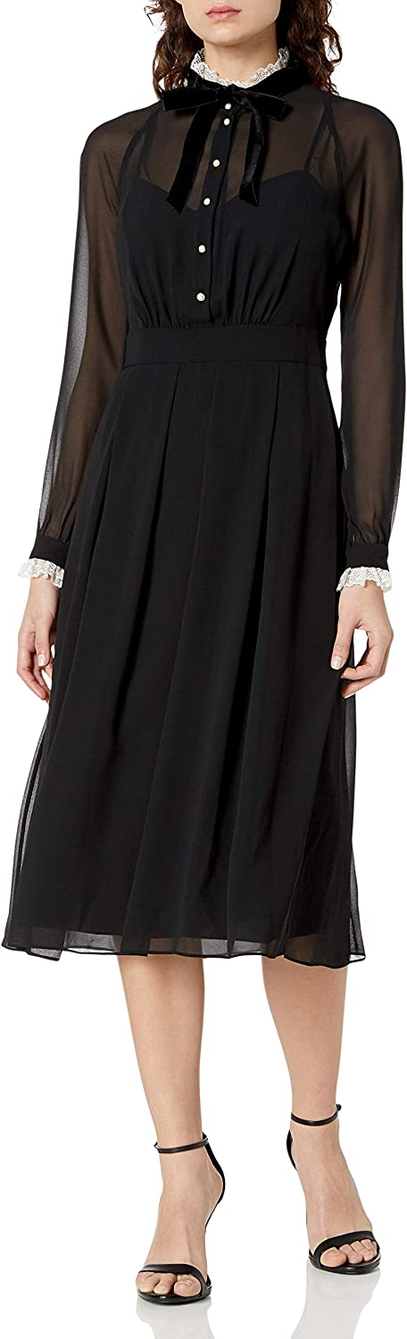 Anne Klein Women's Long Sleeve Tie Neck Fit and Flare Dress