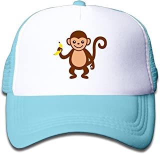 WH&SY Monkey And Banana Children Mesh Trucker Cap Adjustable Fashion Kids Mesh Snapback Hat Cool Caps Black