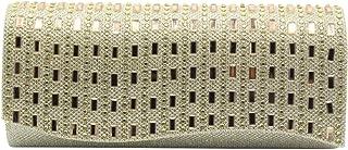 Wiwsi Lady Diamante Envelope Clutch Bag Womens Evening Party Bag Bridal Handbag
