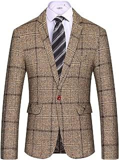 Men's Casual Blazer Slim Fit Plaid One Button Business Suit Jacket Sport Coat
