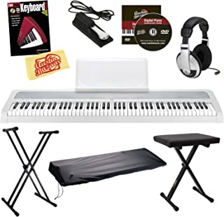 Korg B1 Digital Piano Bundle with Bench, Stand, Dust Cover, Sustain Pedal, Headphones, Instructional Book, Austin Bazaar Instructional DVD, and Polishing Cloth - White