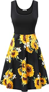Women's Vintage Scoop Neck Midi Dress Sleeveless A-line Cocktail Party Tank Dress