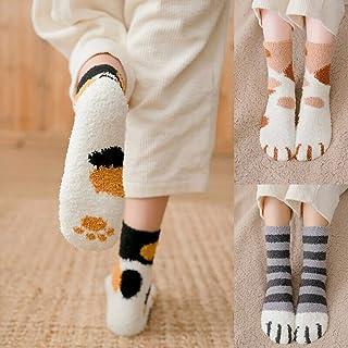 MIWNXM, 10 Pares Cotton Socks Winter Fun Print Cat Paw Warm Socks Kawaii Cute Casual Happy Fashion Designer Socks Men and Women Sleep Socks