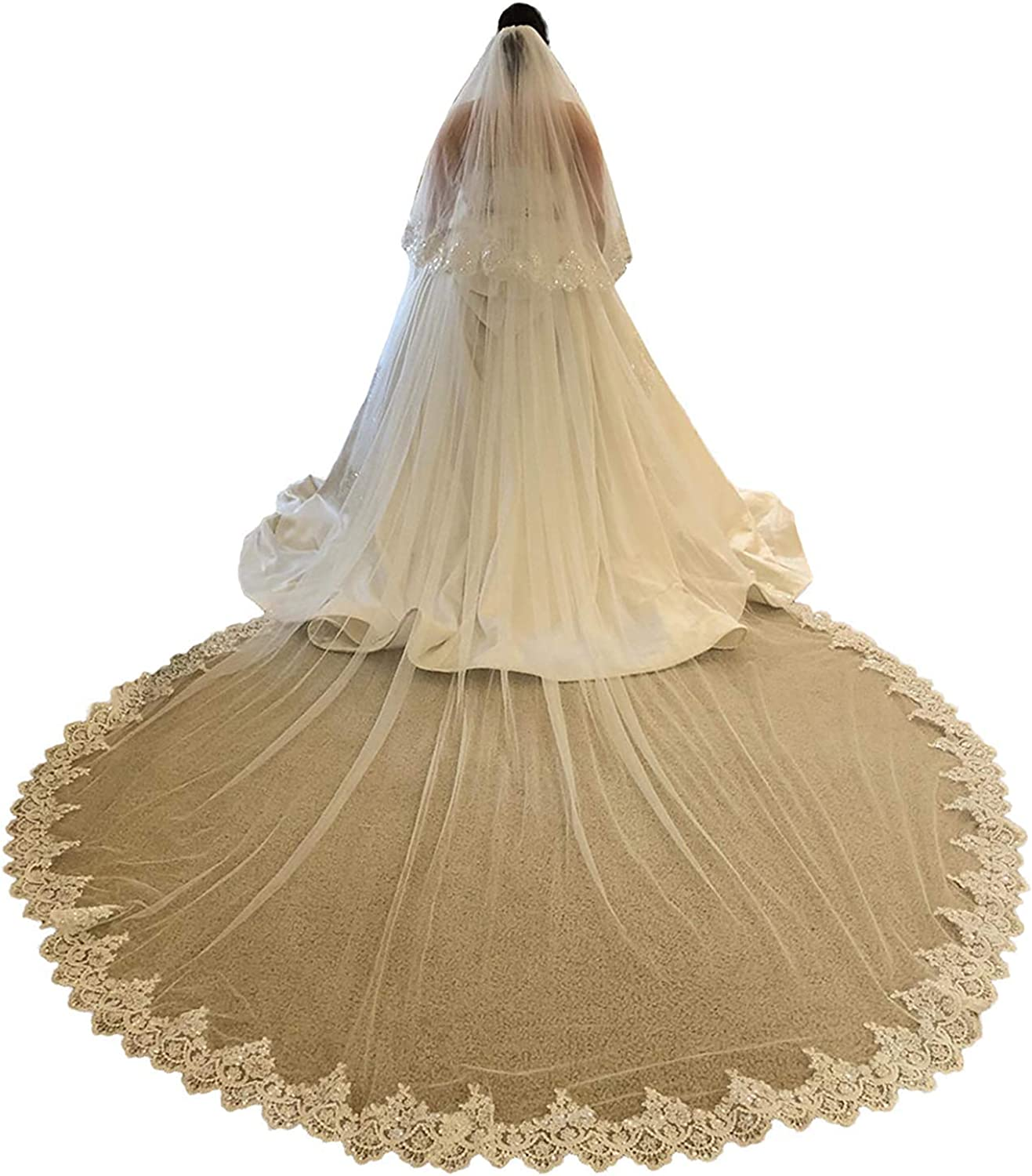 EllieHouse 2 Tier Long Sequin Lace Wedding Bridal Veil With Comb S77